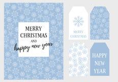 Καλά Χριστούγεννα και καρτών και ετικεττών Παραμονής Πρωτοχρονιάς διανυσματικό σύνολο ελεύθερη απεικόνιση δικαιώματος