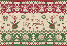 Καλά Χριστούγεννα! Πλεκτό ύφος Στοκ Εικόνα