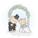 Καλά cubs σε ένα γαμήλιο φόρεμα και ένα φόρεμα Γάμος λίγων αρκούδων Διανυσματική απεικόνιση για μια κάρτα ή μια αφίσα Στοκ Εικόνες