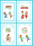 Καλές διακοπές Άγιος Βασίλης, αφίσες Χριστουγέννων διανυσματική απεικόνιση