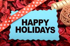 Καλές διακοπές σχέδιο εμβλημάτων με τη διακόσμηση κορδελλών Στοκ Εικόνες