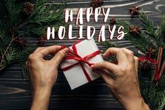 Καλές διακοπές το σημάδι κειμένων στο μοντέρνο επίπεδο Χριστουγέννων βάζει με το χέρι στοκ εικόνες