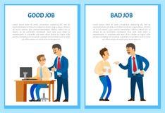Καλές και κακές αφίσες εργασίας, κύριος εκτελεστικός 0 ελεύθερη απεικόνιση δικαιώματος