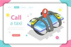 Καλέστε ένα ταξί επίπεδη isometric διανυσματική απεικόνιση έννοιας Στοκ Φωτογραφίες