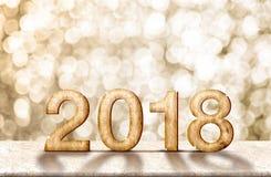 Καλής χρονιάς 2018 ξύλινα μαρμάρινα επιτραπέζια WI renderingon αριθμού τρισδιάστατα Στοκ Εικόνες