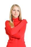 Καλή γυναίκα στην κόκκινη μπλούζα Στοκ φωτογραφίες με δικαίωμα ελεύθερης χρήσης