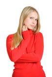 Καλή γυναίκα στην κόκκινη μπλούζα Στοκ Φωτογραφίες