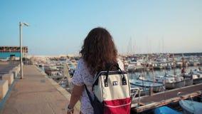 Καλή γυναίκα στο λιμάνι απόθεμα βίντεο