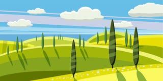Καλή επαρχία, αγρόκτημα, χωριό, βόσκοντας αγελάδες, πρόβατα, λουλούδια, σύννεφα, ύφος κινούμενων σχεδίων, διανυσματική απεικόνιση Στοκ εικόνα με δικαίωμα ελεύθερης χρήσης