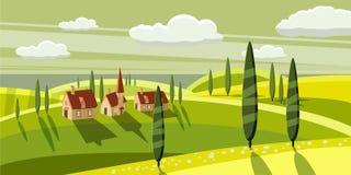 Καλή επαρχία, αγρόκτημα, χωριό, βόσκοντας αγελάδες, πρόβατα, λουλούδια, σύννεφα, ύφος κινούμενων σχεδίων, διανυσματική απεικόνιση Στοκ Φωτογραφία