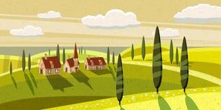Καλή επαρχία, αγρόκτημα, χωριό, βόσκοντας αγελάδες, πρόβατα, λουλούδια, σύννεφα, ύφος κινούμενων σχεδίων, διανυσματική απεικόνιση Στοκ Φωτογραφίες