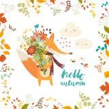 Καλή κάρτα φθινοπώρου με μια αλεπού και τα λουλούδια Στοκ Εικόνες