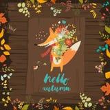Καλή κάρτα φθινοπώρου με μια αλεπού και τα λουλούδια Στοκ Εικόνα