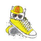 Καλή συνεδρίαση γατακιών στα πάνινα παπούτσια επίσης corel σύρετε το διάνυσμα απεικόνισης απεικόνιση αποθεμάτων