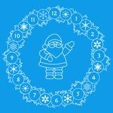 Καλή χρονιά 2019 Άγιος Βασίλης, στεφάνι Χριστουγέννων ελεύθερη απεικόνιση δικαιώματος
