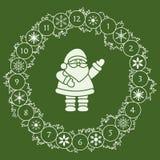 Καλή χρονιά 2019 Άγιος Βασίλης, στεφάνι Χριστουγέννων διανυσματική απεικόνιση