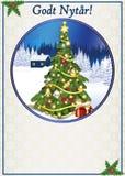 Καλή χρονιά - άσπρη και μπλε ευχετήρια κάρτα με το κείμενο σε δανικά ελεύθερη απεικόνιση δικαιώματος