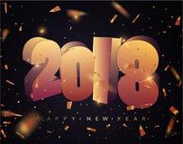 2018 καλή χρονιά Έμβλημα καλής χρονιάς με 2018 αριθμούς Στοκ Φωτογραφίες