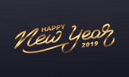 Καλή χρονιά 2019 Απεικόνιση διακοπών της χρυσής εγγραφής Νέα ετικέτα έτους ελεύθερη απεικόνιση δικαιώματος