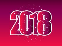 Καλή χρονιά 2018 Αριθμοί με snowflakes αφηρημένο ανασκόπησης Χριστουγέννων σκοτεινό διακοσμήσεων σχεδίου λευκό αστεριών προτύπων  Στοκ Εικόνες