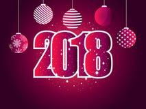 Καλή χρονιά 2018 Αριθμοί με snowflakes και τις σφαίρες Χριστουγέννων ελεύθερη απεικόνιση δικαιώματος