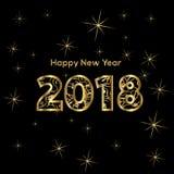 2018 - Καλή χρονιά, αριθμοί στα χρυσά λωρίδες ελεύθερη απεικόνιση δικαιώματος