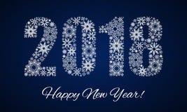 Καλή χρονιά 2018 Αριθμοί φιαγμένοι από snowflakes διανυσματική απεικόνιση