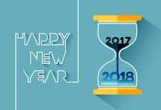 Καλή χρονιά 2018, αριθμός μέσα στην κλεψύδρα απεικόνιση αποθεμάτων