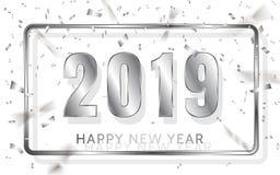 Καλή χρονιά 2019 Ασημένιοι αριθμοί με τις κορδέλλες και το κομφετί σε ένα άσπρο υπόβαθρο επίσης corel σύρετε το διάνυσμα απεικόνι διανυσματική απεικόνιση