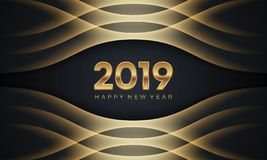 Καλή χρονιά 2019 Δημιουργική αφηρημένη διανυσματική απεικόνιση πολυτέλειας με τους χρυσούς αριθμούς στο σκοτεινό υπόβαθρο