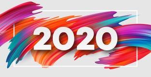 Καλή χρονιά 2020 Επιγραφή χαιρετισμού εγγραφής r στοκ εικόνες