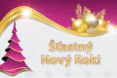 Καλή χρονιά - ευχετήρια κάρτα με το κείμενο στα τσέχικα διανυσματική απεικόνιση