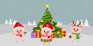 Καλή χρονιά και ευχετήρια κάρτα Χαρούμενα Χριστούγεννας Τρεις χαριτωμένοι χοίροι στα διαφορετικά κοστούμια δίπλα σε όμορφα Χριστο ελεύθερη απεικόνιση δικαιώματος