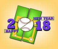 Καλή χρονιά 2018 και μπέιζ-μπώλ Στοκ Εικόνες