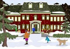 Καλή χρονιά και προετοιμασία Χαρούμενα Χριστούγεννας οδηγώντας χειμώνας ελκήθρων διασκέδασης παιδιά που διακοσμούν ένα σπίτι οι δ διανυσματική απεικόνιση