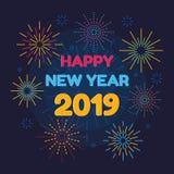 Καλή χρονιά 2019 και πυροτεχνήματα ελεύθερη απεικόνιση δικαιώματος