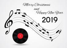 2019 καλή χρονιά και Χαρούμενα Χριστούγεννα στο αφηρημένο υπόβαθρο μουσικής επίσης corel σύρετε το διάνυσμα απεικόνισης ελεύθερη απεικόνιση δικαιώματος