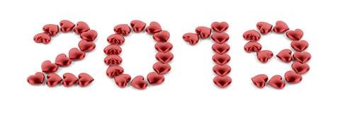 Καλή χρονιά 2019 με τις κόκκινες καρδιές Ελεύθερη απεικόνιση δικαιώματος
