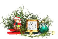 καλή χρονιά μπλε γυαλί σύνθεσης Χριστουγέννων μπιχλιμπιδιών στοκ εικόνες