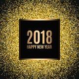 Καλή χρονιά 2018 Ο χρυσός ακτινοβολεί νέο έτος Χρυσό υπόβαθρο για το ιπτάμενο, έμβλημα, Ιστός, επιγραφή, αφίσα, σημάδι Στοκ Εικόνες