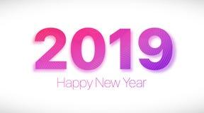 2019 καλή χρονιά Πορφυρό κείμενο σε ένα άσπρο υπόβαθρο στοκ εικόνες