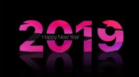 2019 καλή χρονιά Πορφυρό κείμενο σε ένα μαύρο υπόβαθρο στοκ φωτογραφία