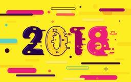 Καλή χρονιά 2018 Ρευστό χρώμα και ζωηρόχρωμες κλίσεις με την ελάχιστη γεωμετρική μορφή Επίπεδο ύφος απεικόνιση αποθεμάτων