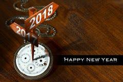 Καλή χρονιά 2018 - ρολόι με τα σημάδια διανυσματική απεικόνιση