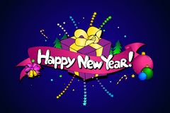 Καλή χρονιά στη αγγλική γλώσσα ζωηρόχρωμη γραμμή τέχνης Διανυσματικό χρώμιο διανυσματική απεικόνιση