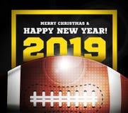 Καλή χρονιά 2019 στο υπόβαθρο μιας σφαίρας για το αμερικανικό ποδόσφαιρο διάνυσμα απεικόνιση αποθεμάτων