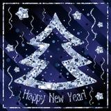 Καλή χρονιά, συγχαρητήρια με το χριστουγεννιάτικο δέντρο και τα αστέρια του ασημένιου κομφετί διανυσματική απεικόνιση
