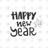 Καλή χρονιά - συρμένη χέρι κάρτα Χριστουγέννων με την εγγραφή Χαριτωμένη νέα φράση έτους επίσης corel σύρετε το διάνυσμα απεικόνι Στοκ φωτογραφία με δικαίωμα ελεύθερης χρήσης