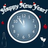 καλή χρονιά Σφαίρες και CHAMPAGNE Χριστουγέννων Ένα ρολόι παρουσιάζει σε πέντε λεπτά στο tvelve διάνυσμα Στοκ Φωτογραφία
