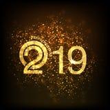 Καλή χρονιά, σχέδιο 2019 κειμένων με τα αστέρια στο χρυσό ύφος, ευτυχές έτος χοίρων στις κινεζικές λέξεις Στοκ φωτογραφία με δικαίωμα ελεύθερης χρήσης